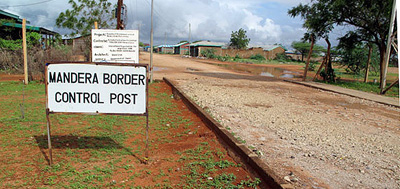 """Kenyan police at the border post at Mandera with Somalia say villagers are fleeing the fighting leaving only a """"ghost town."""""""
