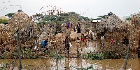 Flooding yesterday in Kenya's Turkana region, an area that rarely gets rain.