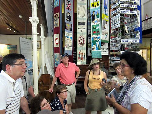 Dave & Carol Winikoff, Michelle Fisher, Alan Gross, Sue Lebby, Marj Newman and our guide, Linda Fortune, at the District Six Museum in Cape Town.