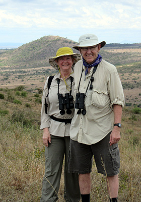 Lyle and Jane Krug hiking in the Kili foothills.