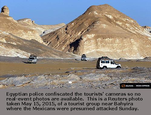 Four-wheel drive cars cross the Egyptian western desert and the Bahariya Oasis, southwest of Cairo