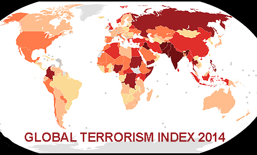 The darker the red, the more impact from terrorism.