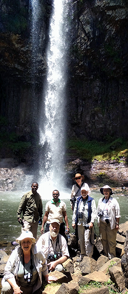 Cindy Pease, driver Musa, Jim Pease, driver James, Kakkie Cunningham, Steve Farrand & Shirley Gangwere under Chania Falls