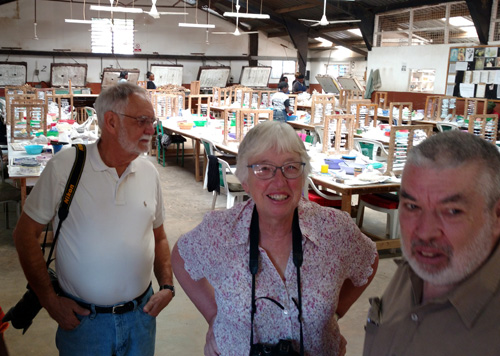 Steve Farrand and Caroline & Brian Barrett at Kazuri Beads.