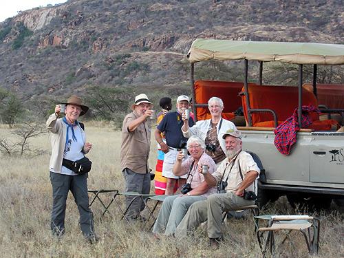 Kakkie Cunningham, Brian Barrett, Steve Farrand, Caroline Barrett, Shirley Gangwere and Jim Pease toasting Samburu!