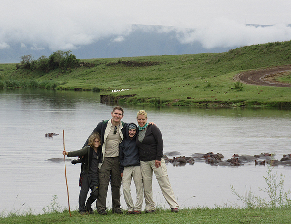 family by hippo lake